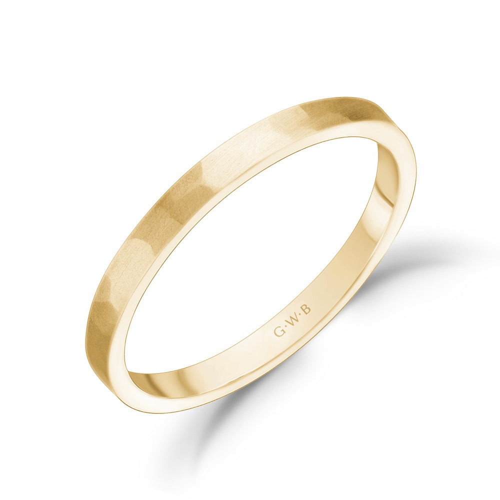 2mm 18K Gold Brushed Hammered Wedding Band