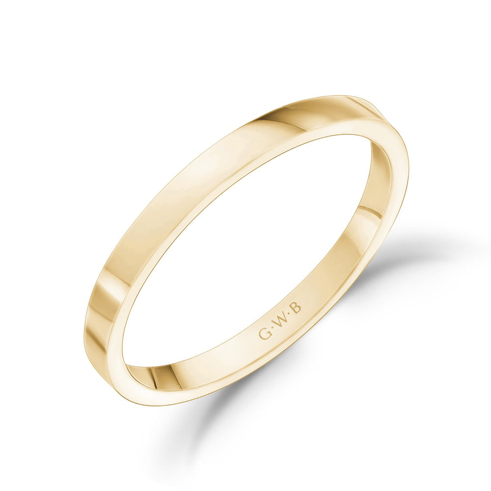 2mm 18K Gold High Polished Flat Wedding Band