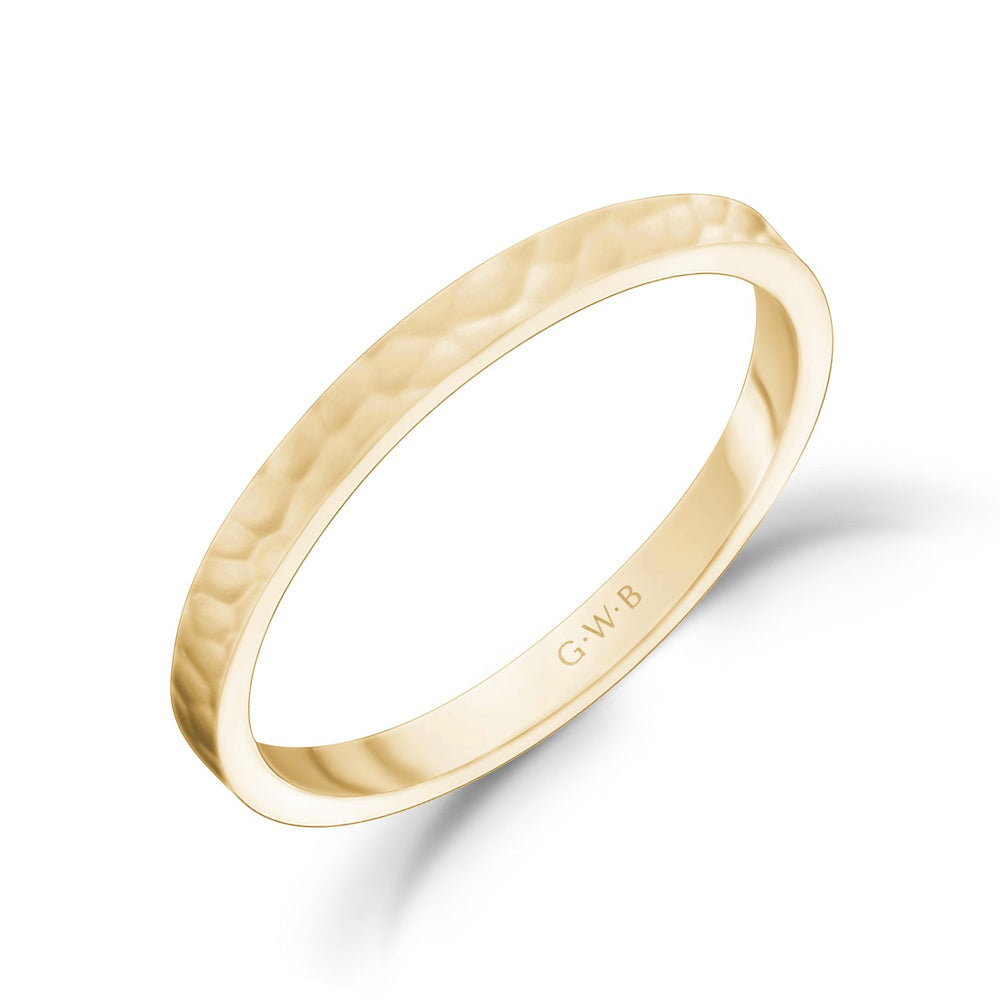 Load image into Gallery viewer, 2mm 18K Gold High Polished Hammered Wedding Band