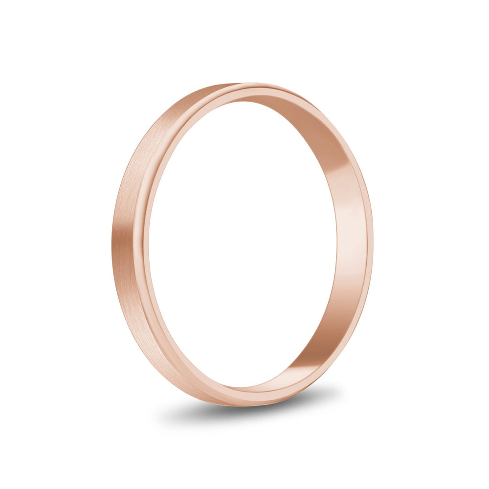 3mm 10K Gold Brushed Flat Beveled Edge Wedding Band
