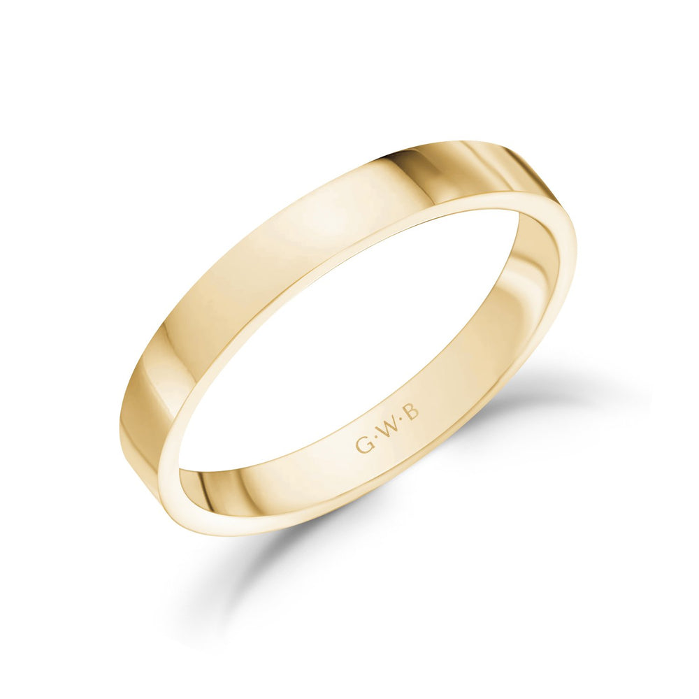 Load image into Gallery viewer, 3mm 10K Gold High Polished Flat Wedding Band