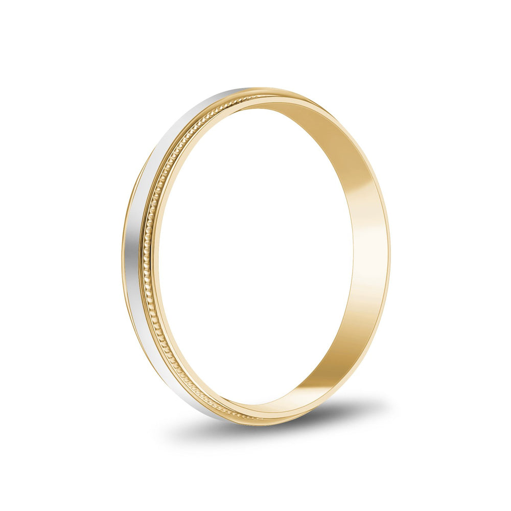3mm 14K Gold Brushed Flat Milgrain Wedding Band
