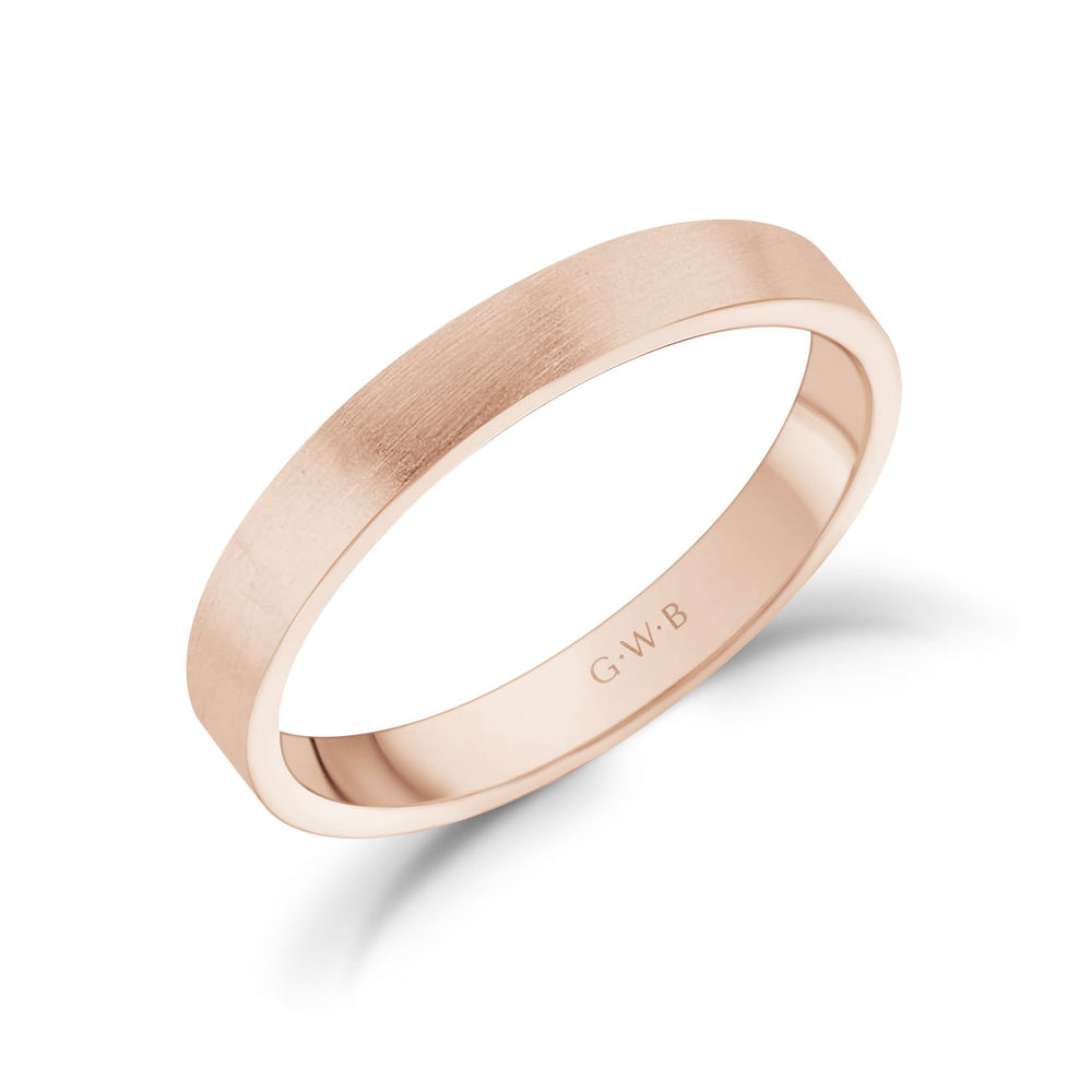 Load image into Gallery viewer, 3mm 14K Gold Brushed Flat Wedding Band