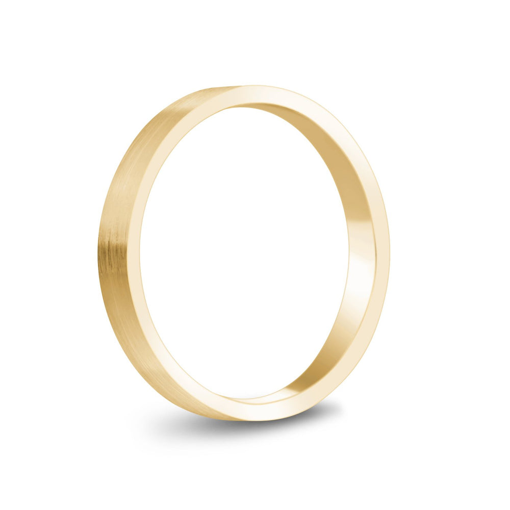3mm 14K Gold Brushed Flat Wedding Band