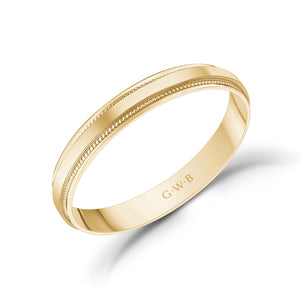 3mm 14K Gold High Polished Flat Milgrain Wedding Band