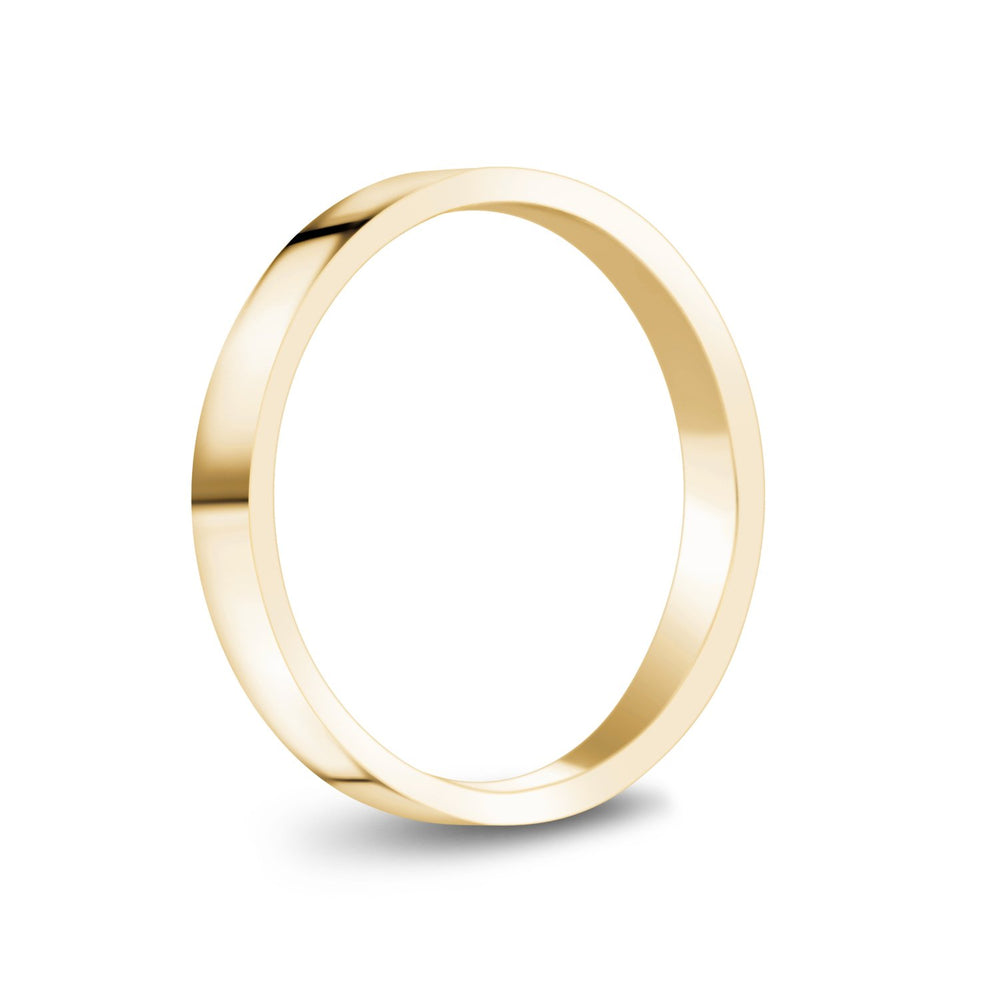 3mm 14K Gold High Polished Flat Wedding Band