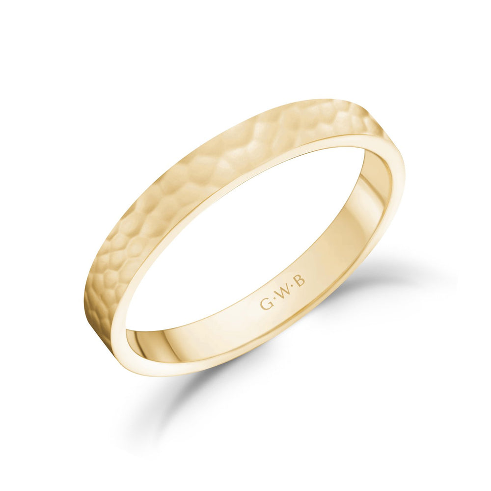 Load image into Gallery viewer, 3mm 14K Gold High Polished Hammered Wedding Band