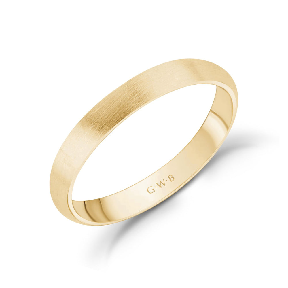 Load image into Gallery viewer, 3mm 18K Gold Brushed Dome Wedding Band
