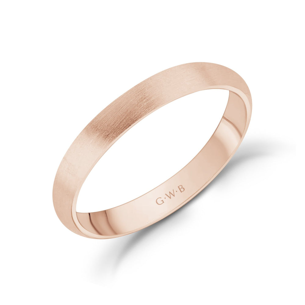 3mm 18K Gold Brushed Dome Wedding Band