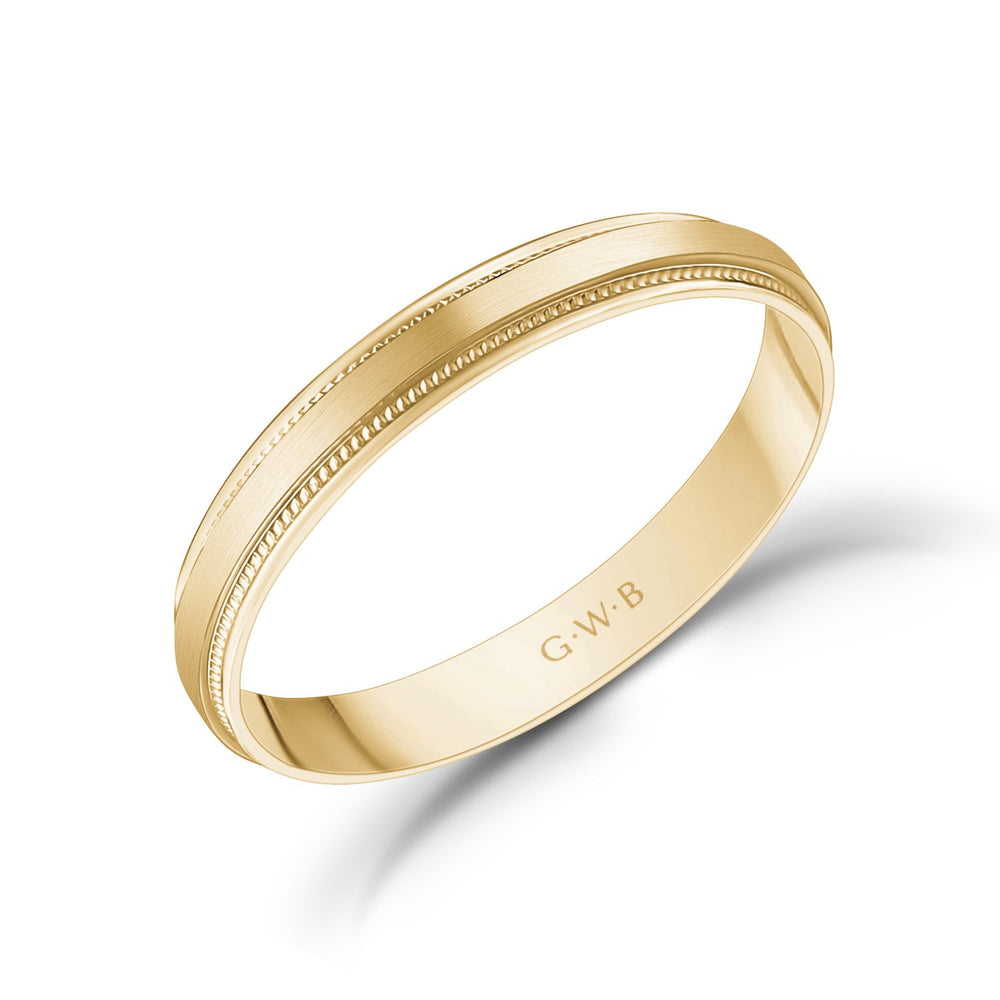 Load image into Gallery viewer, 3mm 18K Gold Brushed Flat Milgrain Wedding Band