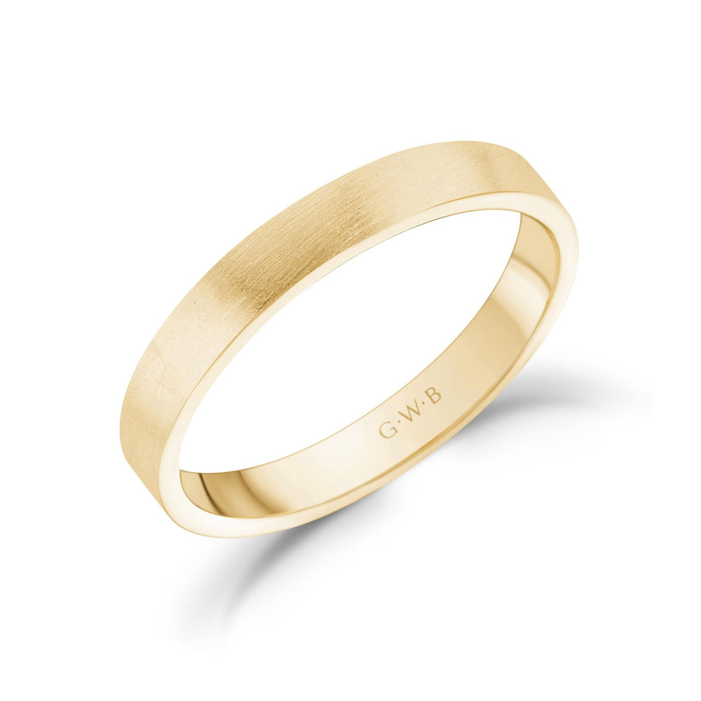 3mm 18K Gold Brushed Flat Wedding Band