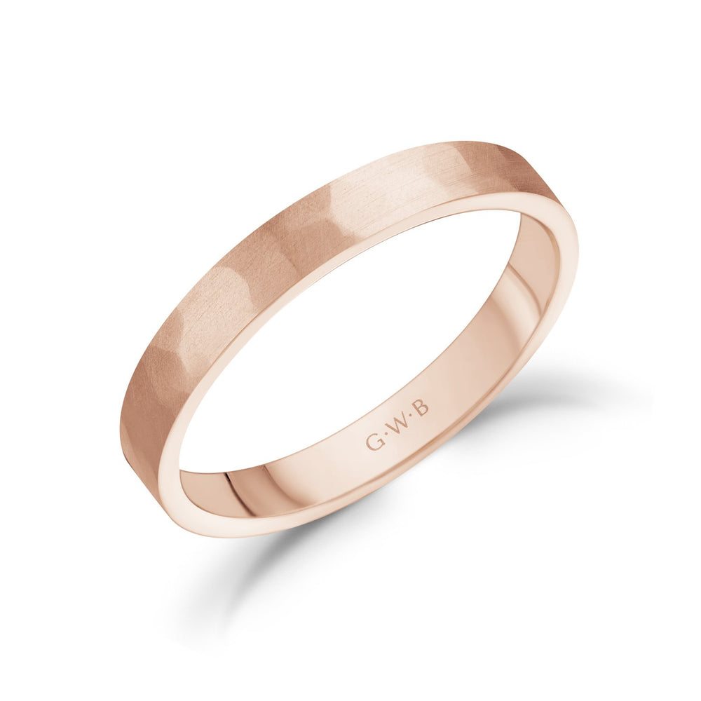 3mm 18K Gold Brushed Hammered Wedding Band