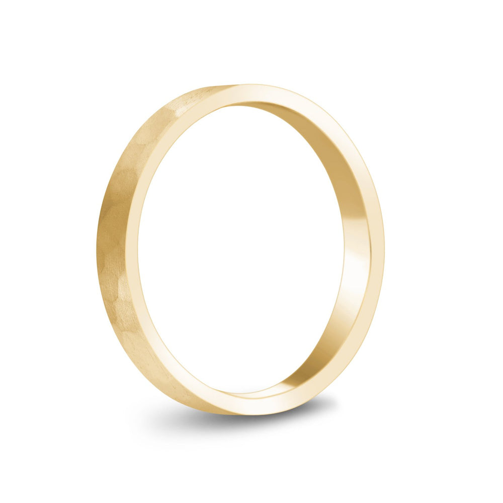 Load image into Gallery viewer, 3mm 18K Gold Brushed Hammered Wedding Band