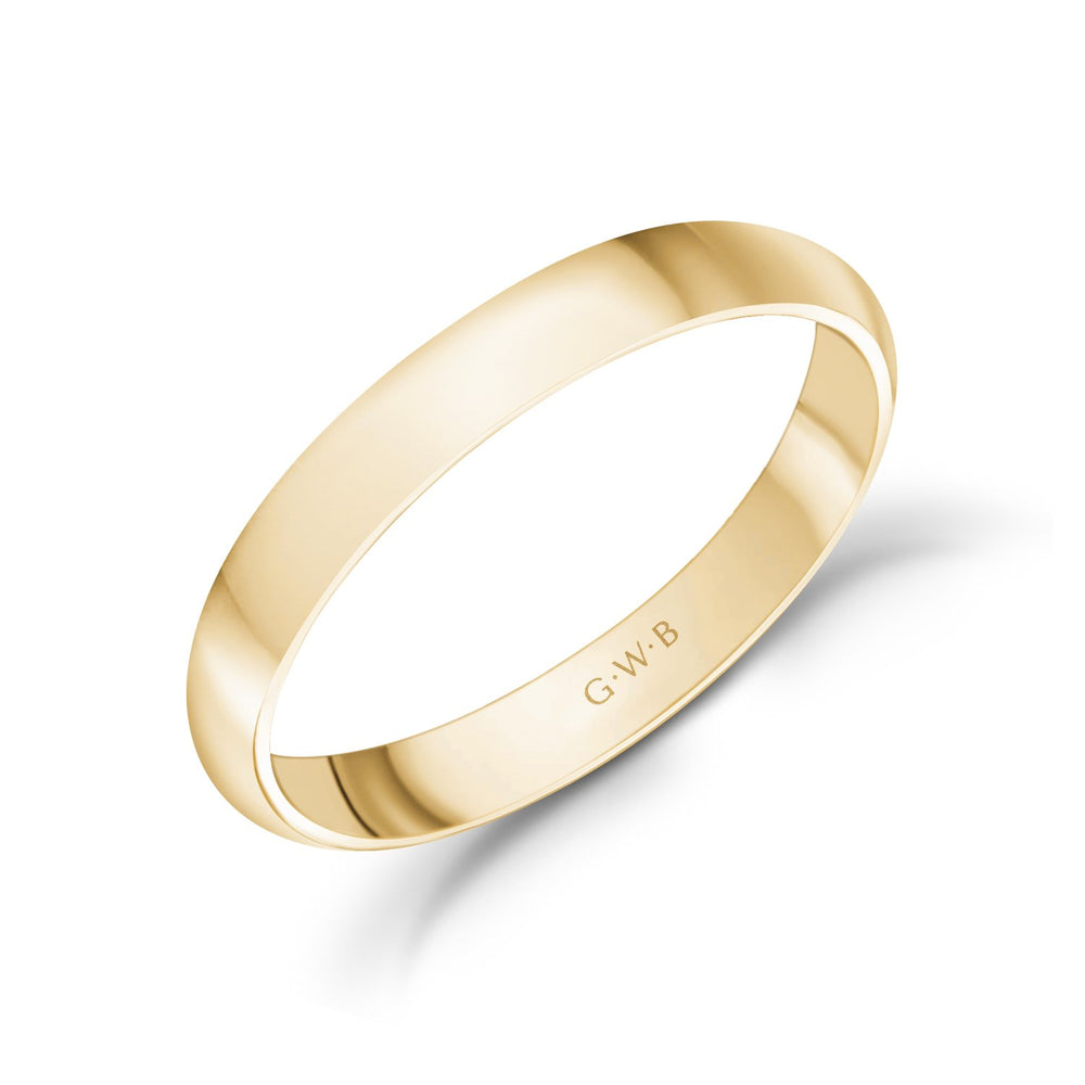 3mm 18K Gold High Polished Dome Wedding Band