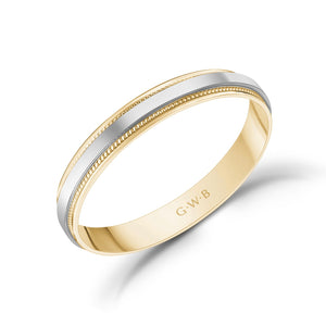 3mm 18K Gold High Polished Flat Milgrain Wedding Band