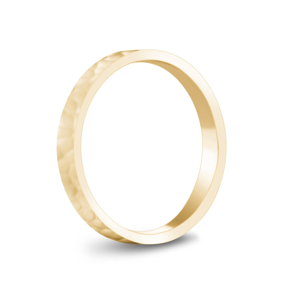 3mm 18K Gold High Polished Hammered Wedding Band