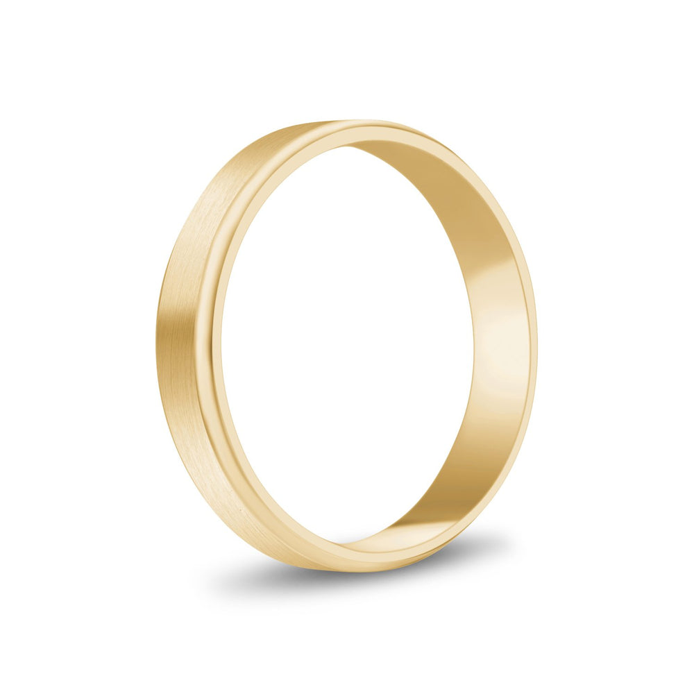 4mm 10K Gold Brushed Flat Beveled Edge Wedding Band