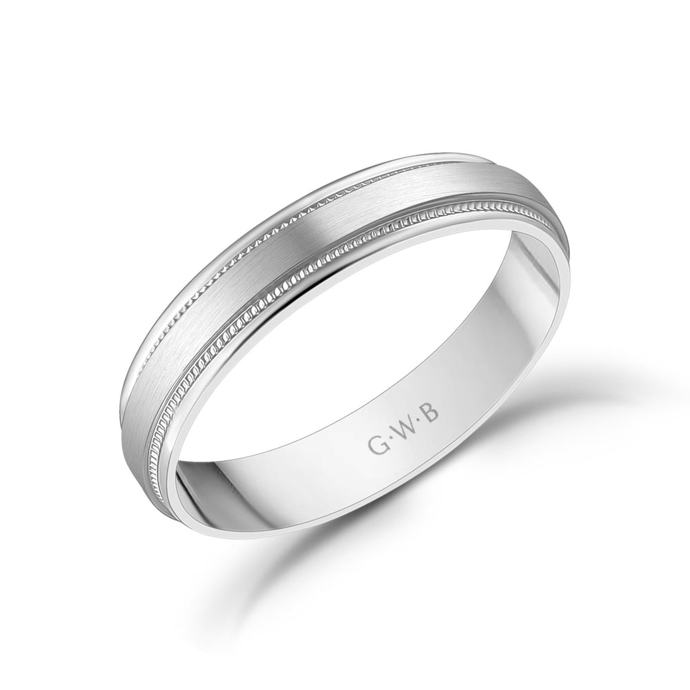 Load image into Gallery viewer, 4mm 10K Gold Brushed Flat Milgrain Wedding Band