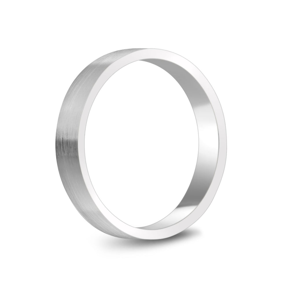 4mm 10K Gold Brushed Flat Wedding Band