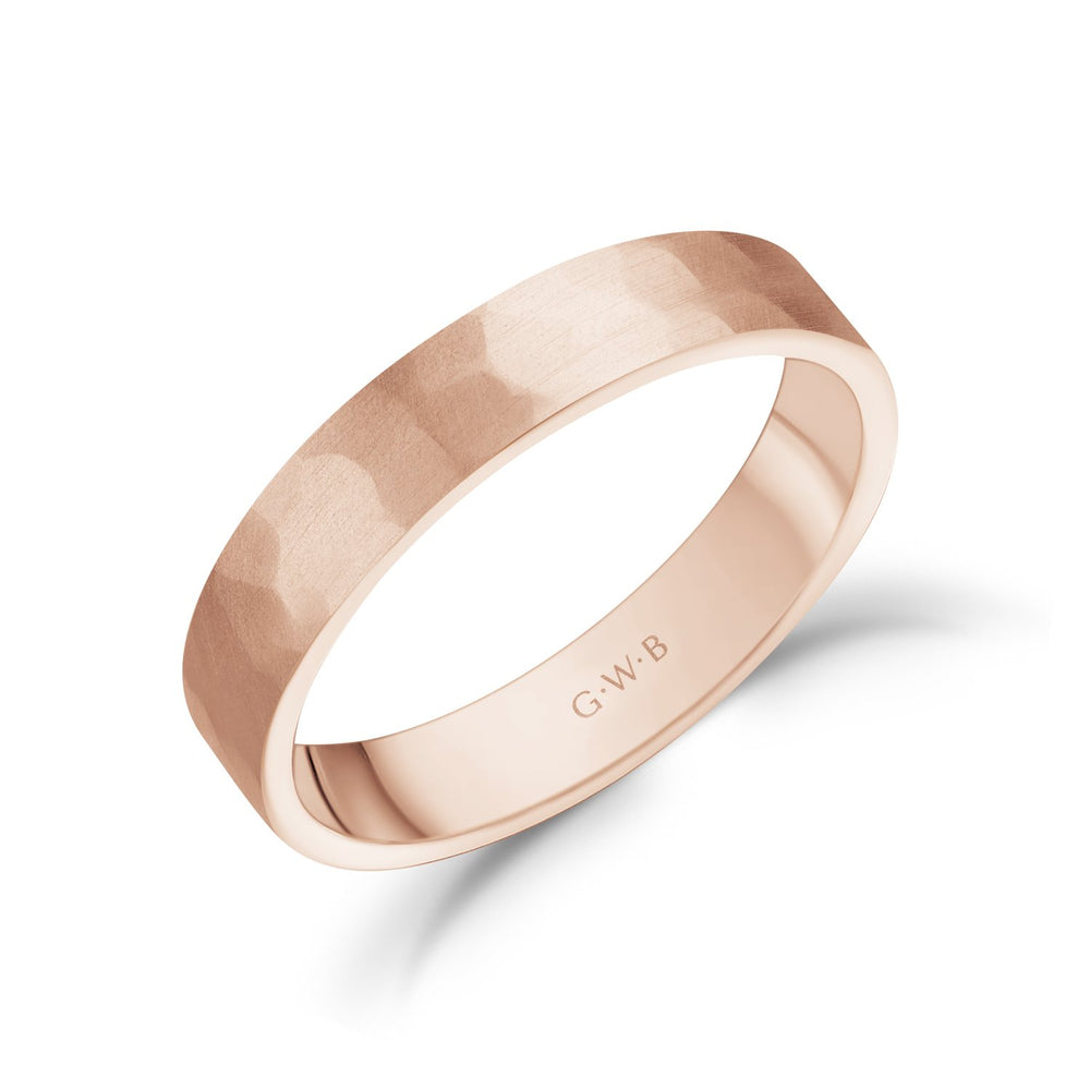 4mm 10K Gold Brushed Hammered Wedding Band