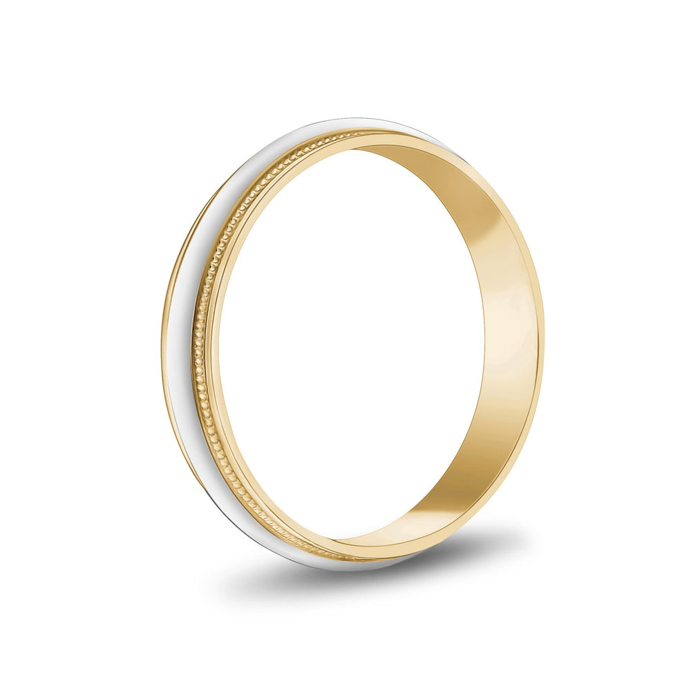 4mm 10K Gold High Polished Dome Milgrain Wedding Band
