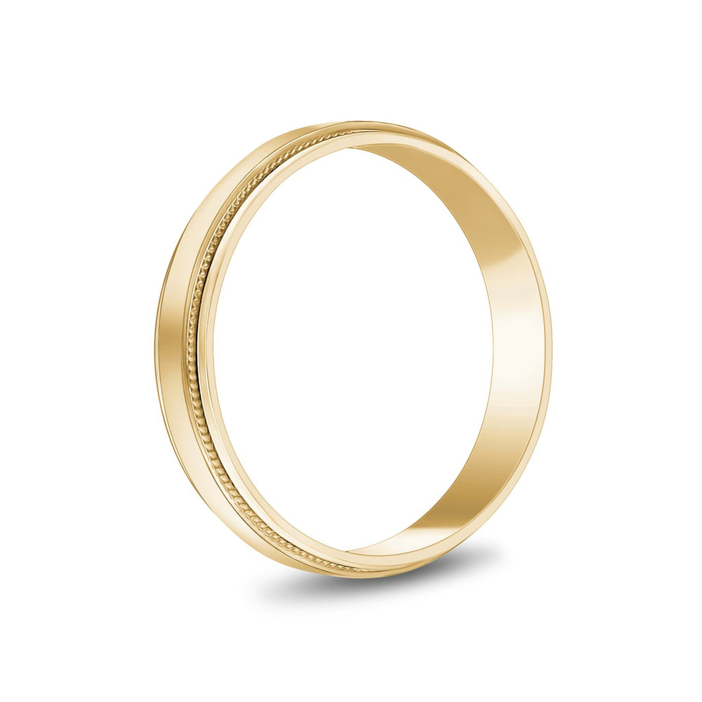 4mm 10K Gold High Polished Flat Milgrain Wedding Band