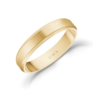 Load image into Gallery viewer, 4mm 14K Gold Brushed Flat Beveled Edge Wedding Band