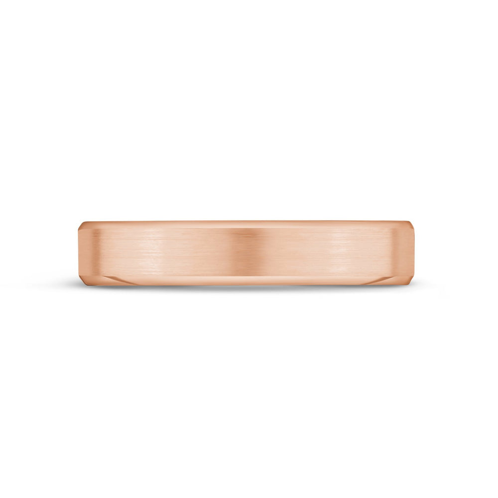 4mm 14K Gold Brushed Flat Beveled Edge Wedding Band