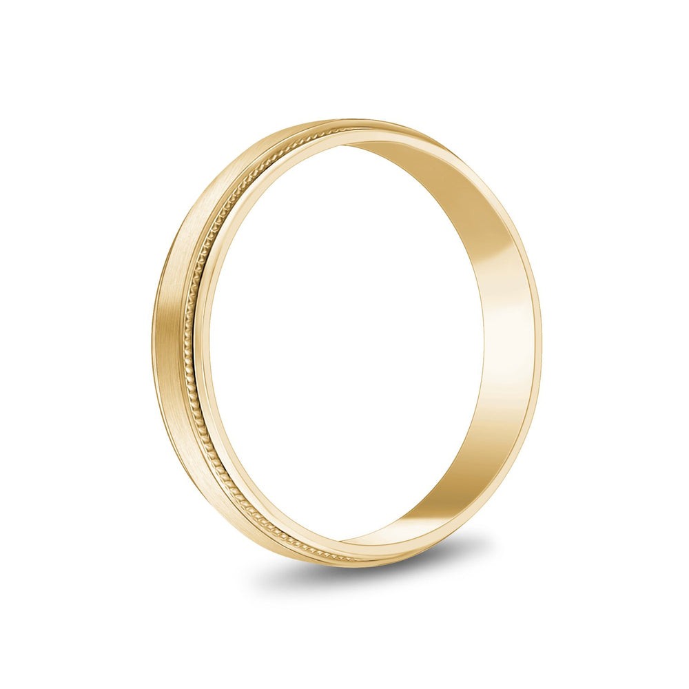 4mm 14K Gold Brushed Flat Milgrain Wedding Band