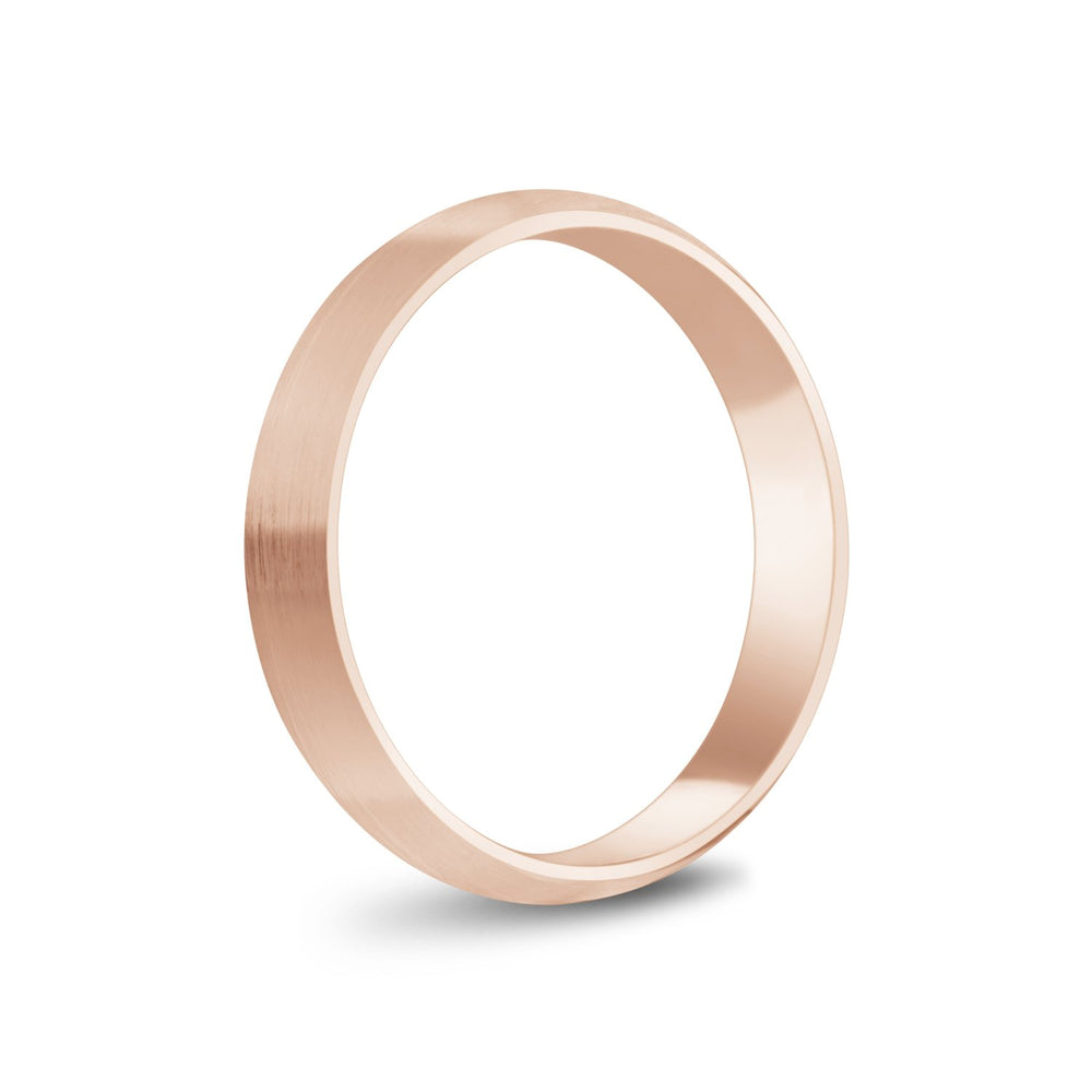 4mm 18K Gold Brushed Dome Wedding Band