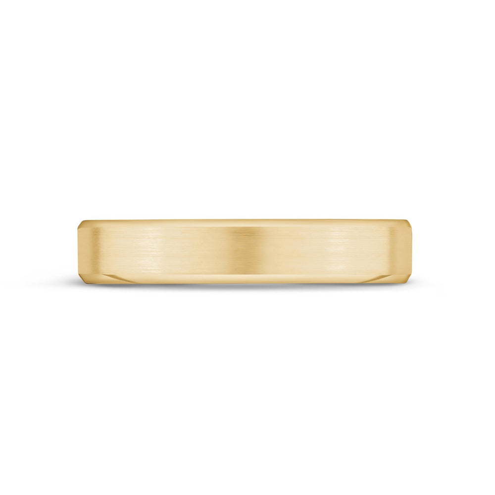 Load image into Gallery viewer, 4mm 18K Gold Brushed Flat Beveled Edge Wedding Band