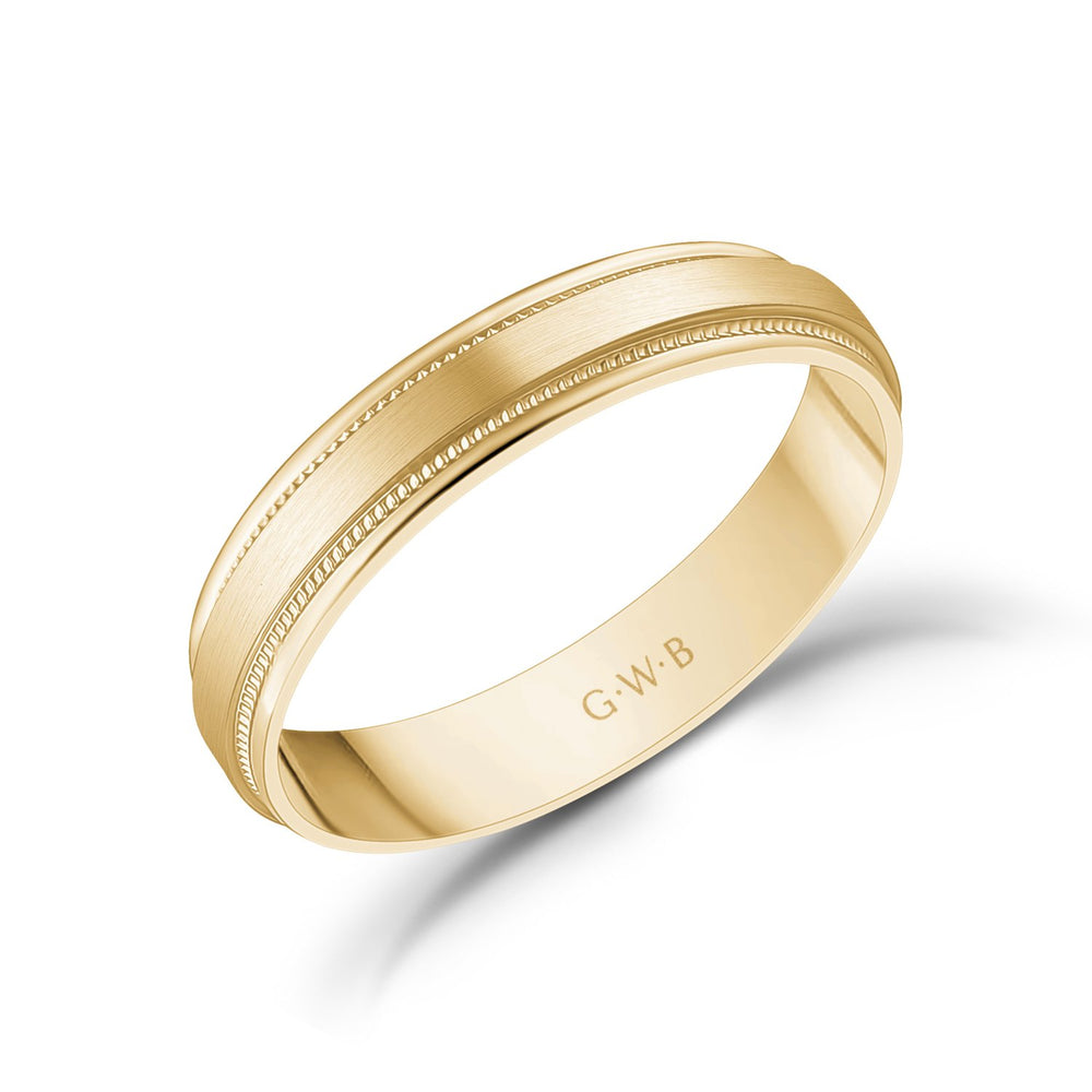 4mm 18K Gold Brushed Flat Milgrain Wedding Band