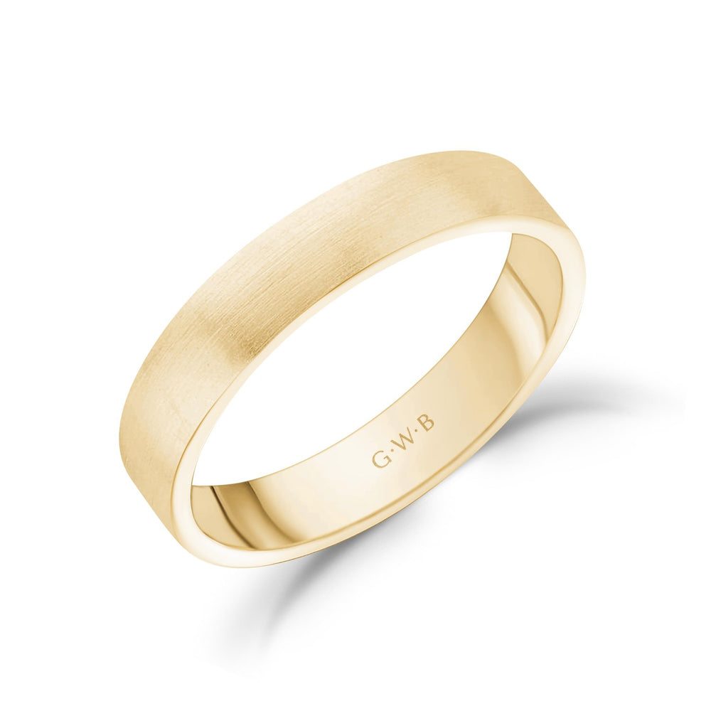 Load image into Gallery viewer, 4mm 18K Gold Brushed Flat Wedding Band