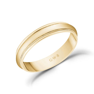 4mm 18K Gold High Polished Dome Milgrain Wedding Band