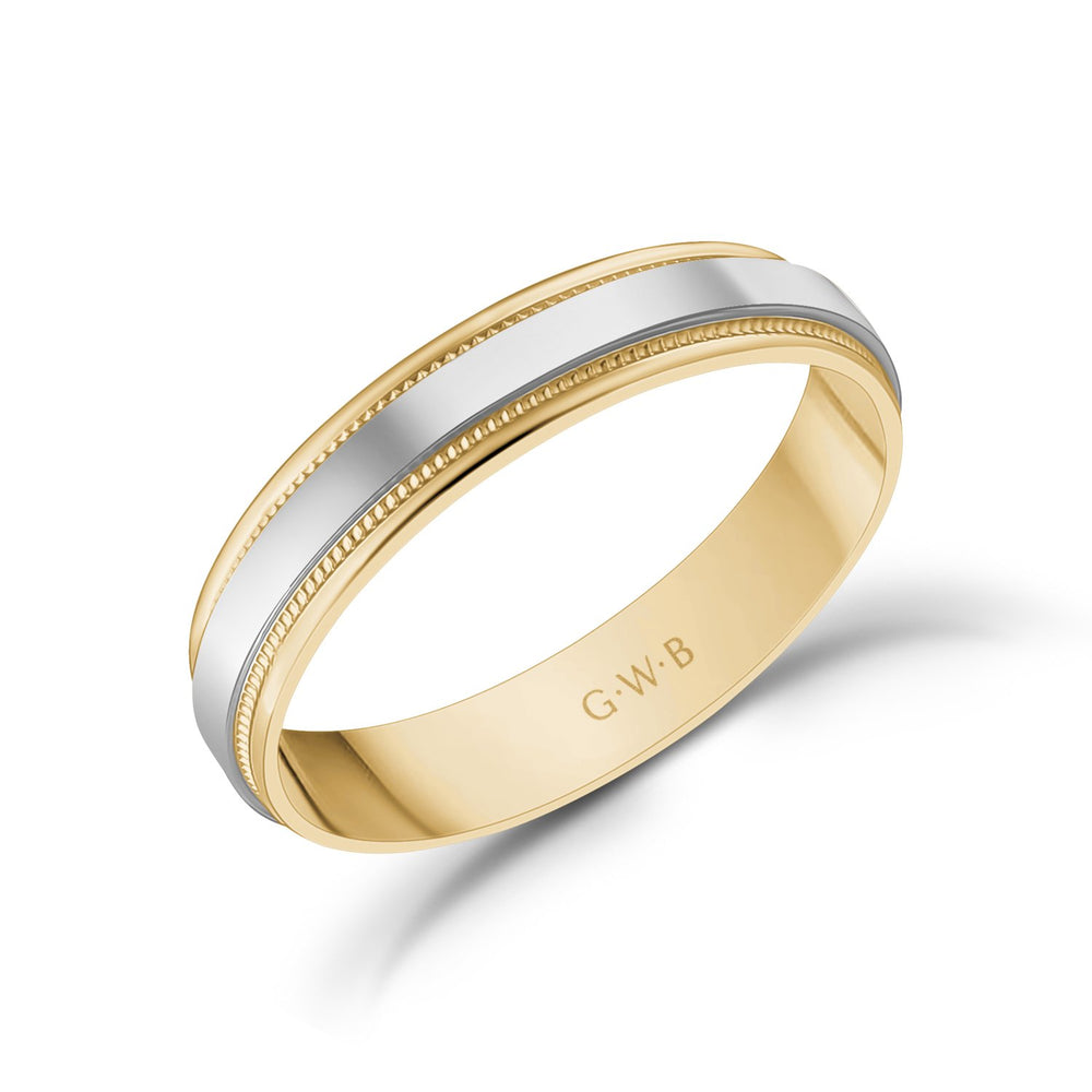 4mm 18K Gold High Polished Flat Milgrain Wedding Band