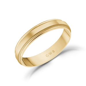 Load image into Gallery viewer, 4mm 18K Gold High Polished Flat Milgrain Wedding Band