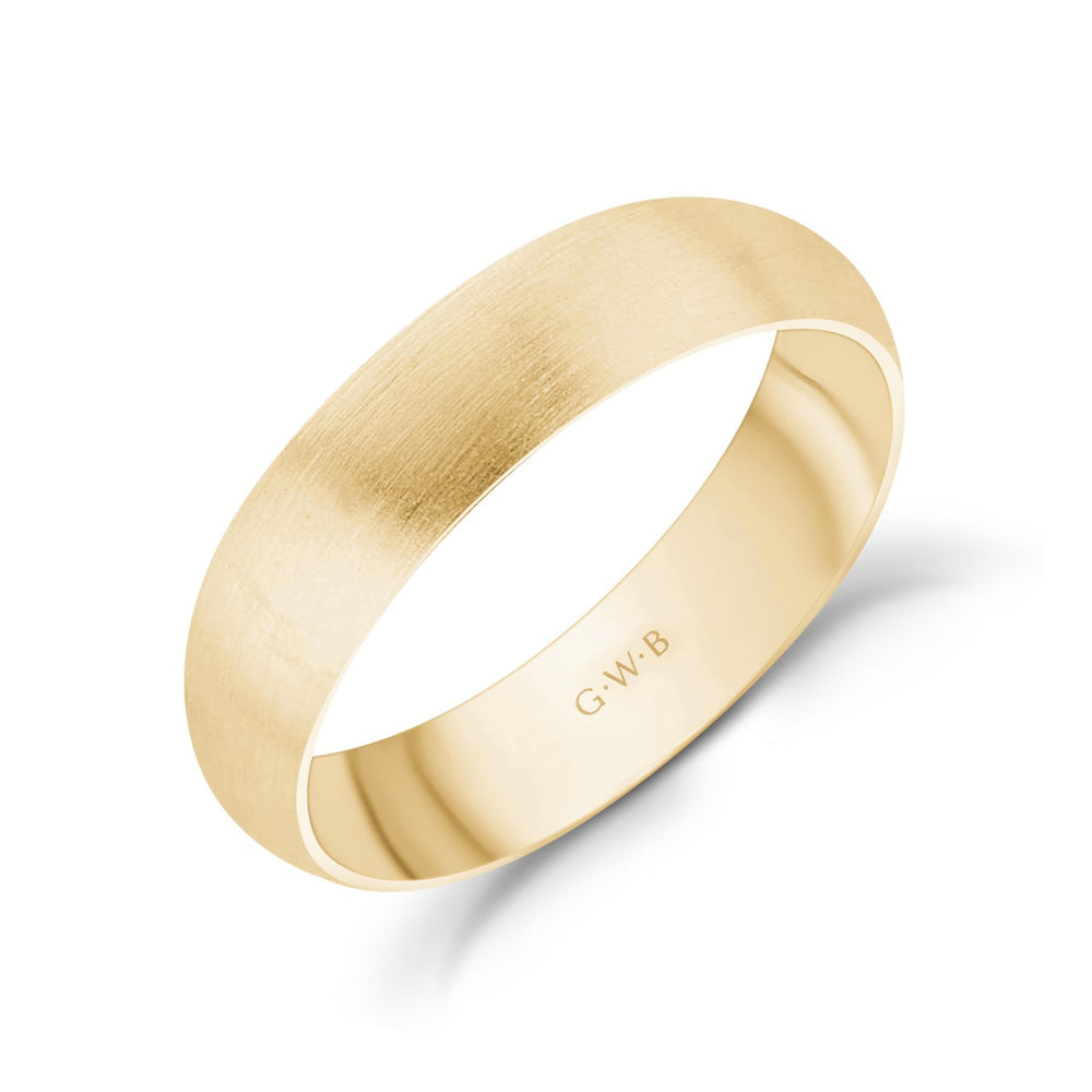 5mm 10K Gold Brushed Dome Wedding Band