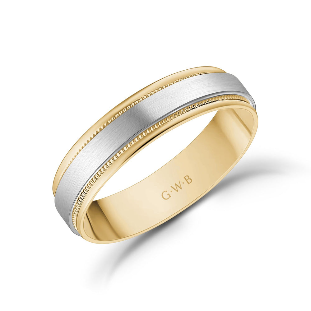 5mm 10K Gold Brushed Flat Milgrain Wedding Band