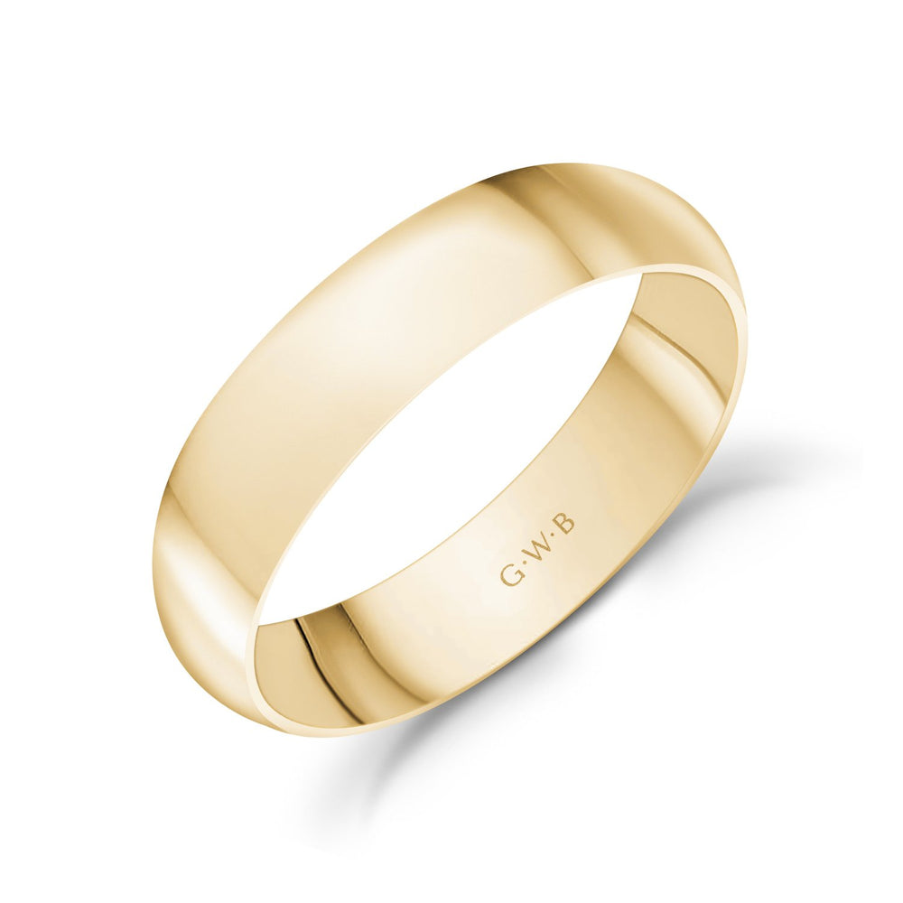 5mm 10K Gold High Polished Dome Wedding Band