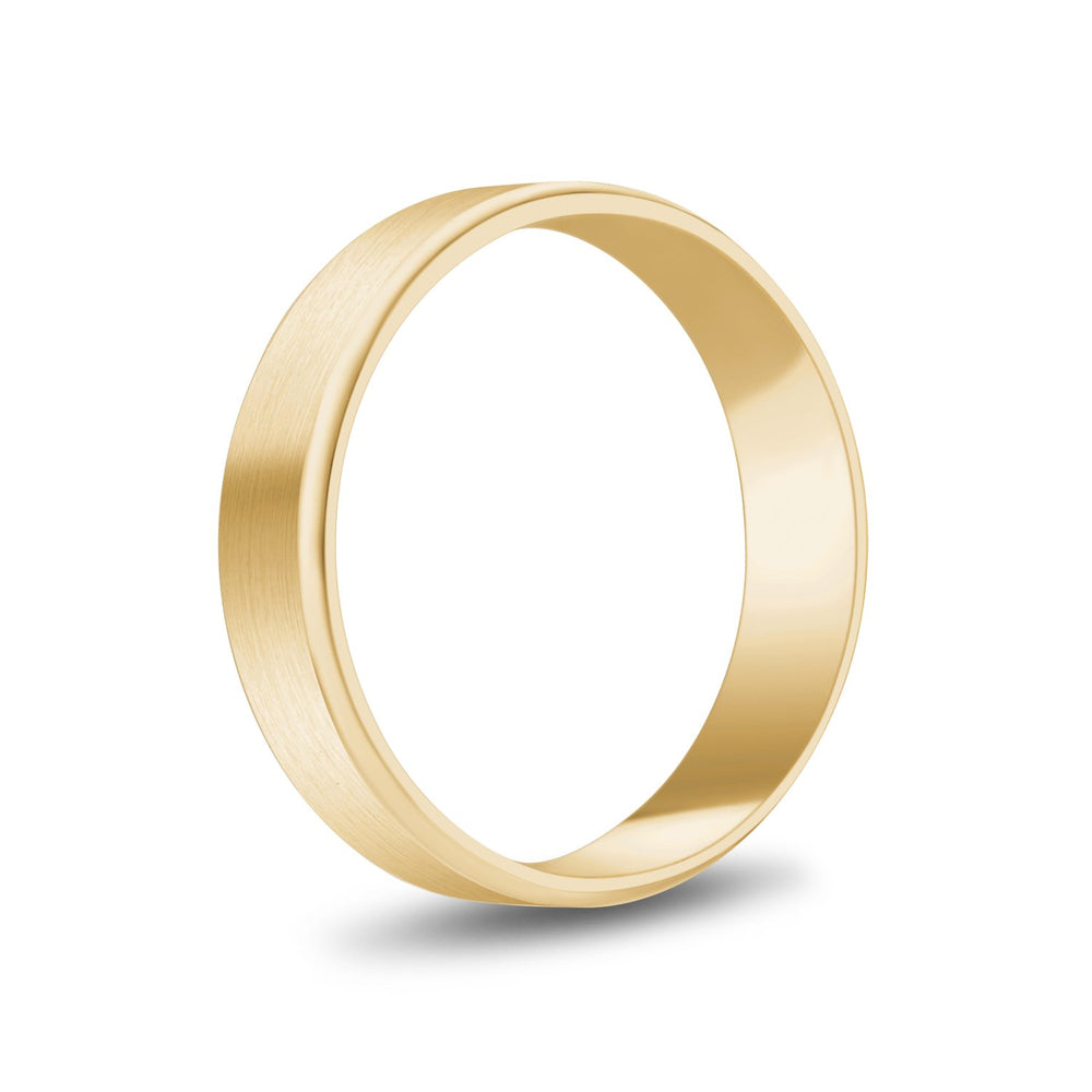 Load image into Gallery viewer, 5mm 14K Gold Brushed Flat Beveled Edge Wedding Band