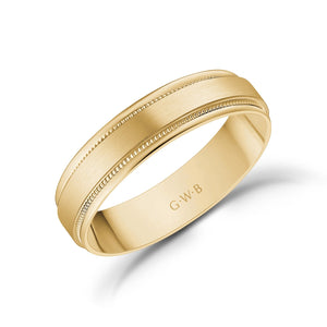 5mm 14K Gold Brushed Flat Milgrain Wedding Band