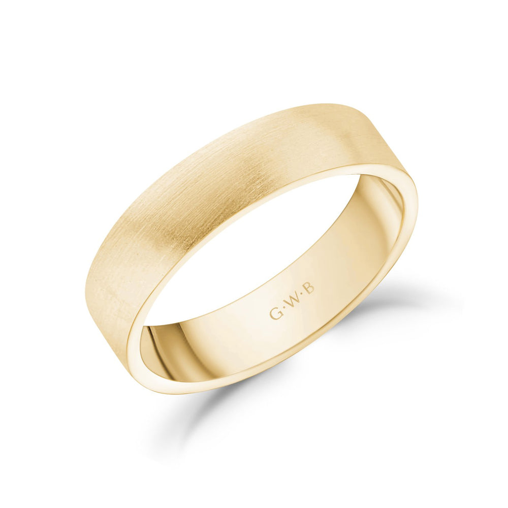 5mm 14K Gold Brushed Flat Wedding Band