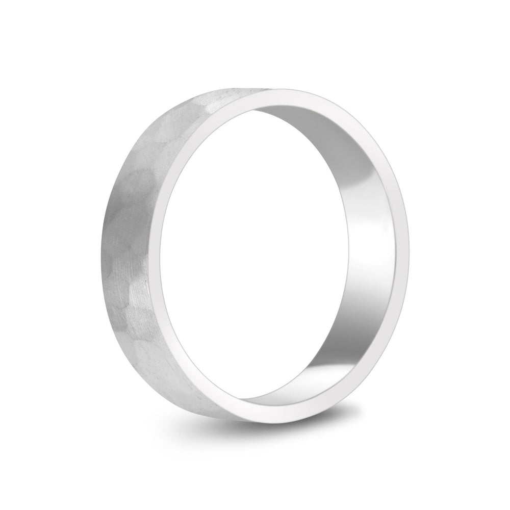 5mm 14K Gold Brushed Hammered Wedding Band