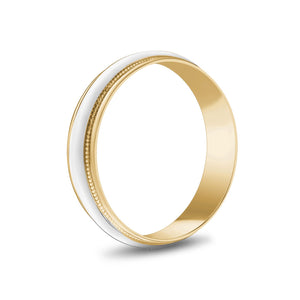 5mm 14K Gold High Polished Dome Milgrain Wedding Band