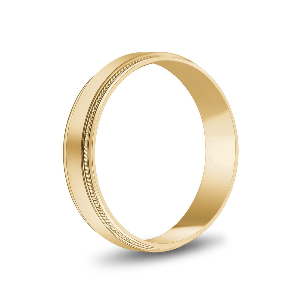 5mm 14K Gold High Polished Flat Milgrain Wedding Band