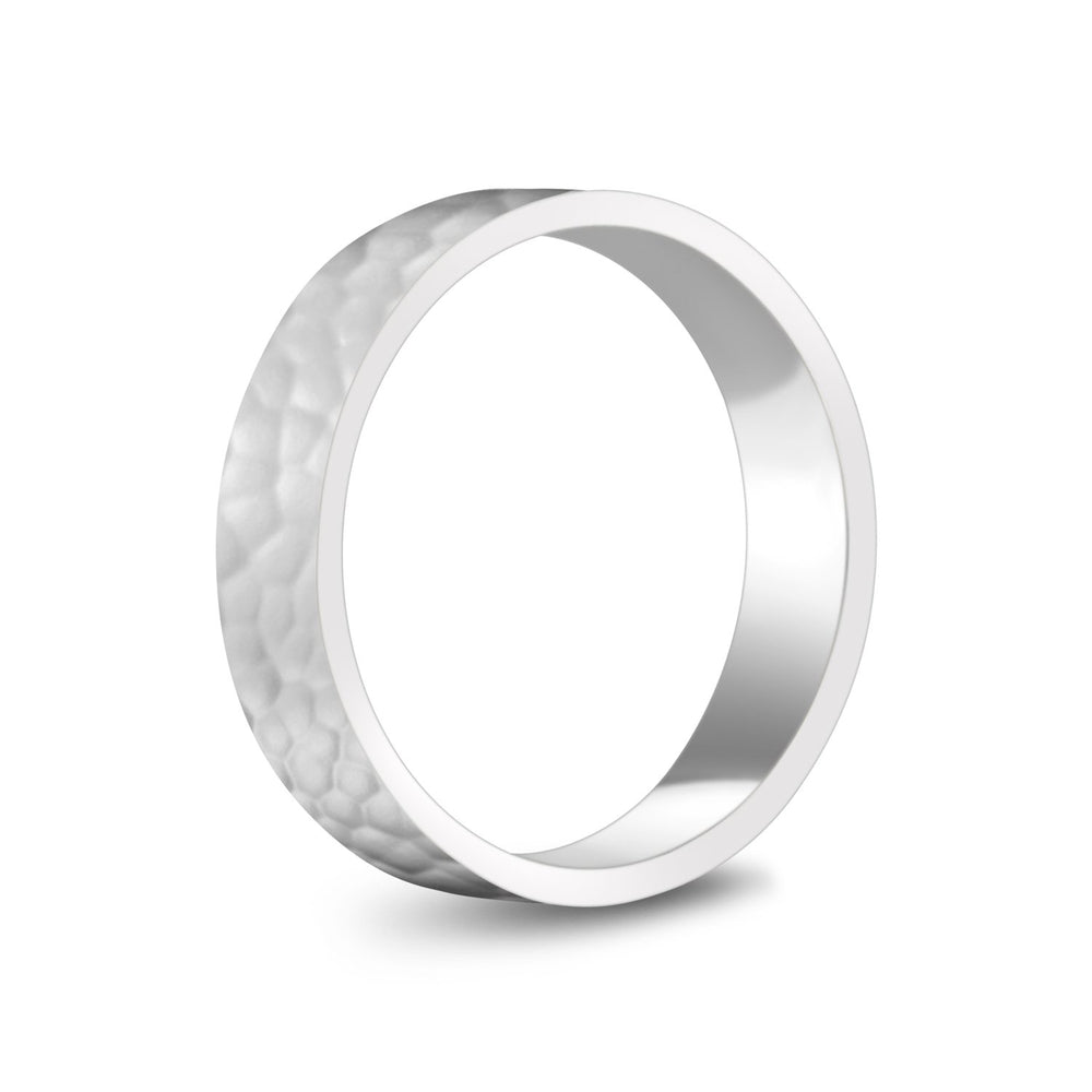 5mm 14K Gold High Polished Hammered Wedding Band