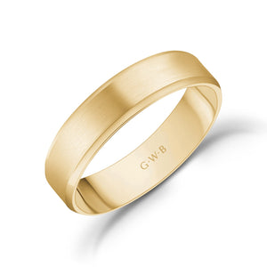 5mm 18K Gold Brushed Flat Beveled Edge Wedding Band
