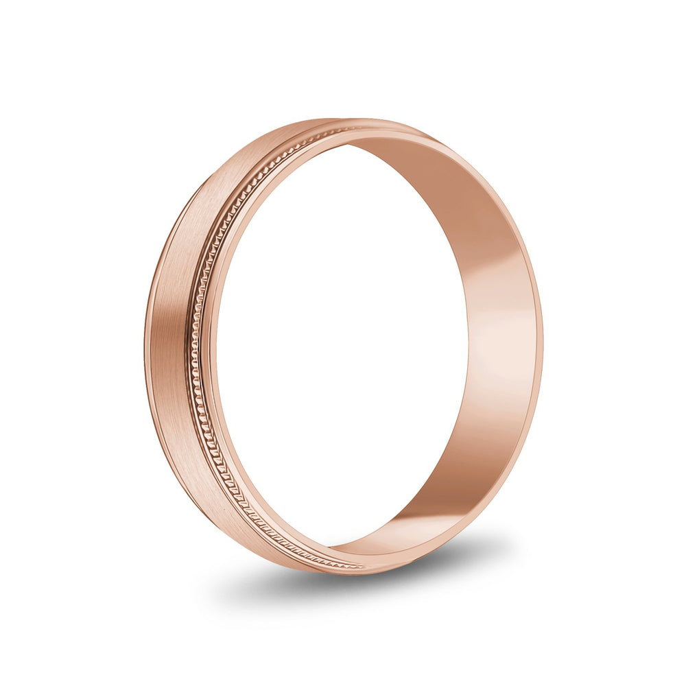 Load image into Gallery viewer, 5mm 18K Gold Brushed Flat Milgrain Wedding Band