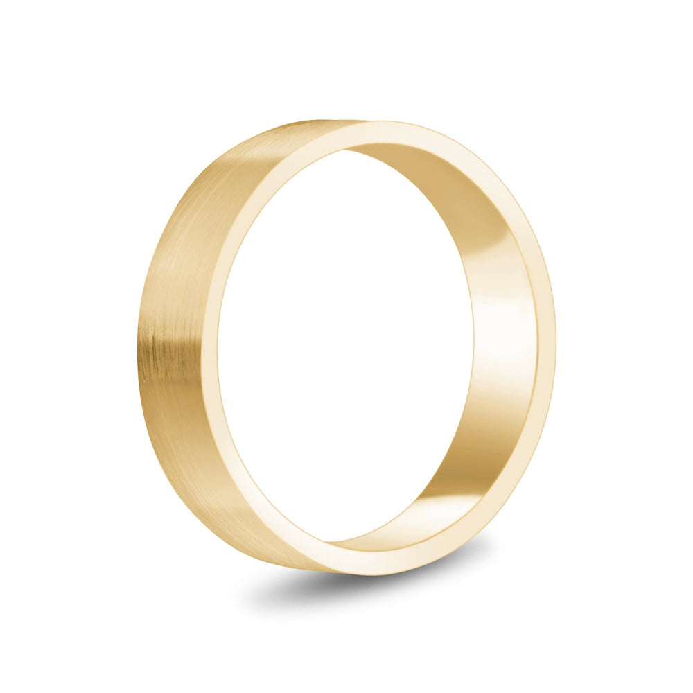 Load image into Gallery viewer, 5mm 18K Gold Brushed Flat Wedding Band