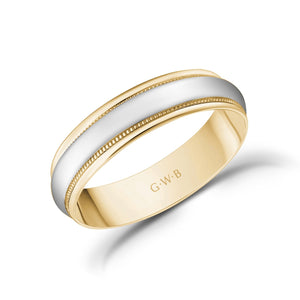 Load image into Gallery viewer, 5mm 18K Gold High Polished Dome Milgrain Wedding Band